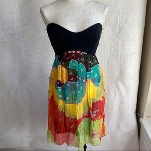 DVF 70s Retro Print Bustier Tube Strapless Dress